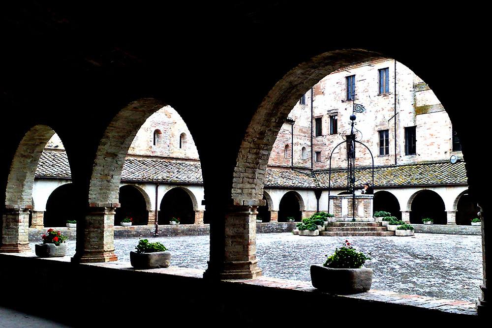 the cloister of the Abbey of Fiastra, near Macerata
