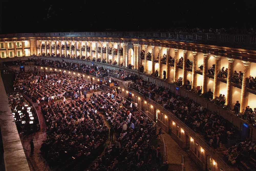 Sferisterio, the open air theatre in Macerata, in a photo by night
